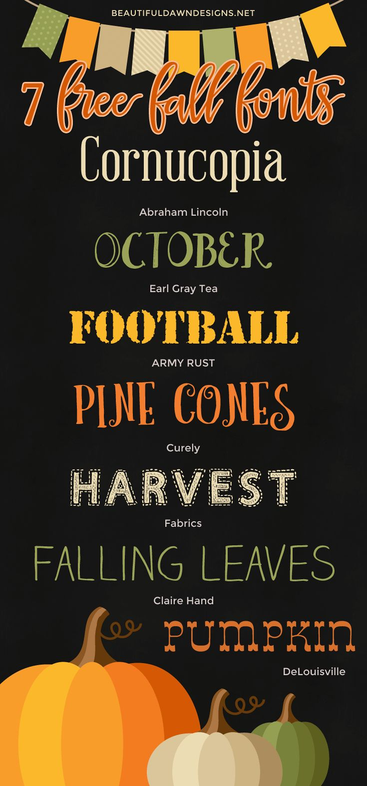 With fall just around the corner (has the year been going by fast for you as well?), I thought it would be fun to share a list of 7 free fall themed fonts. The fonts in this roundup would be great to use for your fall invitations, printables, and more. The graphics used in this font roundup as well as the free printable are courtesy of Freepik. I really enjoyed creating this roundup. I was finally able to incorporate one of my old favorites (Fabrics) into a font roundup. I've been a fan of…