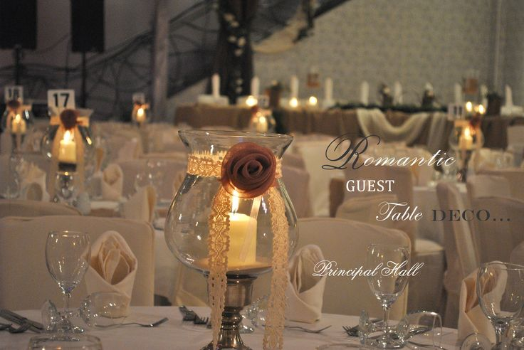 Romantic touch on each guest's table with lace and burlap runner