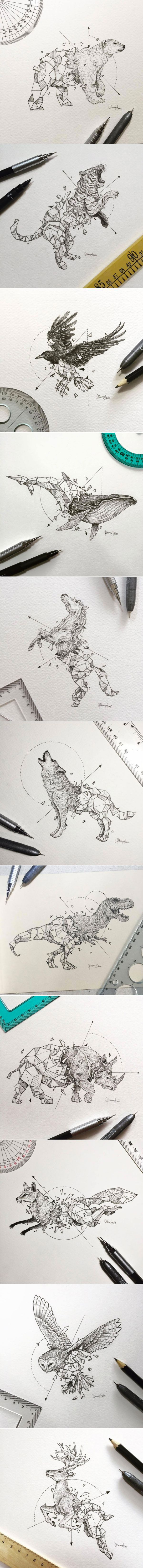 Tatto Ideas 2017 - Geometric Beasts by Kerby Rosanes...
