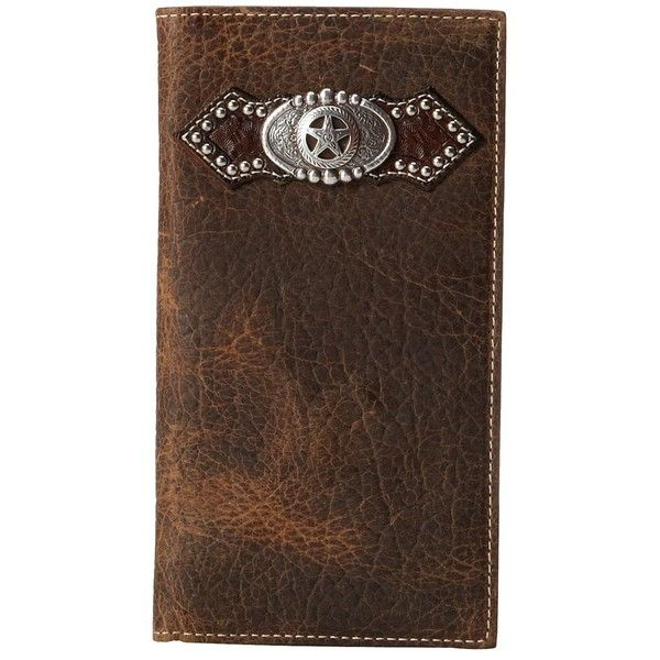 Ariat Star Concho Distressed Rodeo Wallet (Distressed Brown) ($45) ❤ liked on Polyvore featuring men's fashion, men's bags, men's wallets, mens brown leather wallet, mens checkbook wallet, mens leather long wallet, mens long wallets and mens leather checkbook wallet