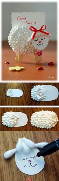Schaap maken ,  met oorstokjes , lintje , karton