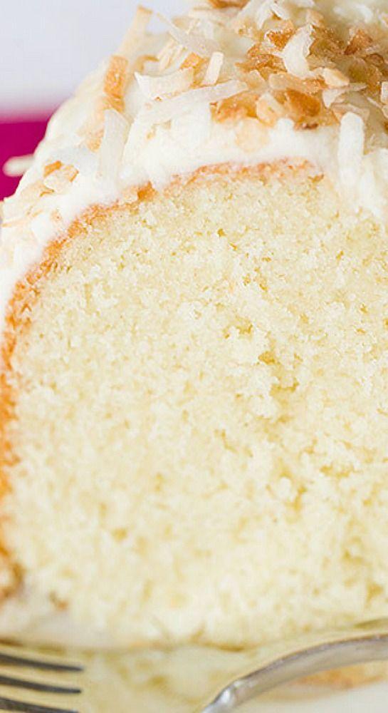 Coconut Bundt Cake with White Chocolate-Coconut Glaze.