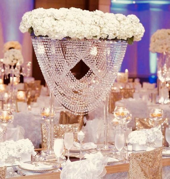 Gorgeous Chandelier Bridge Centerpiece This Is A Statement Centerpiece That W Crystal Centerpieces Wedding Cheap Wedding Decorations Silver Wedding Decorations