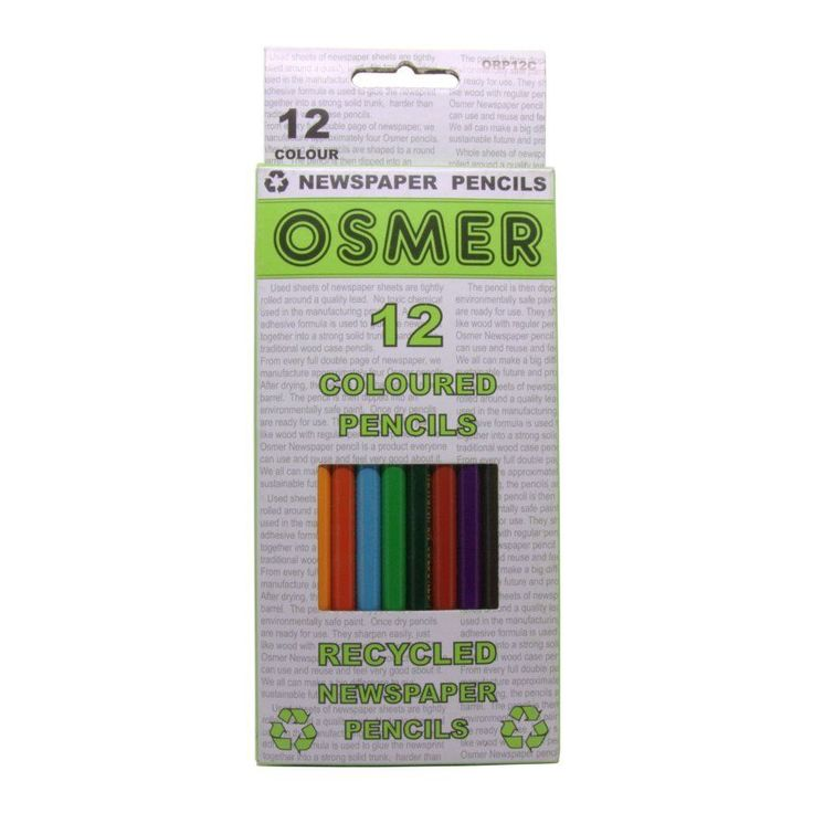 $8 Delivered : Osmer pack of 12 recycled coloured pencils. Made from 80% recycled newspaper. Available in 1 or 2 packs. Limited quantities remaining.      Great colour coverage.     Water resistant durable gloss finish.     Environmentally friendly product.     Also available in HB and 2B pencils.  Brand: Osmer  Product code: ORP12C