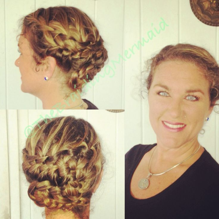 Waterfall braid French braid combo updo