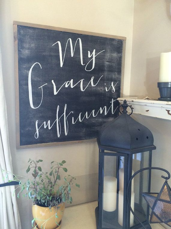 Framed wood sign My grace is sufficient wood por SaltedWordsCompany