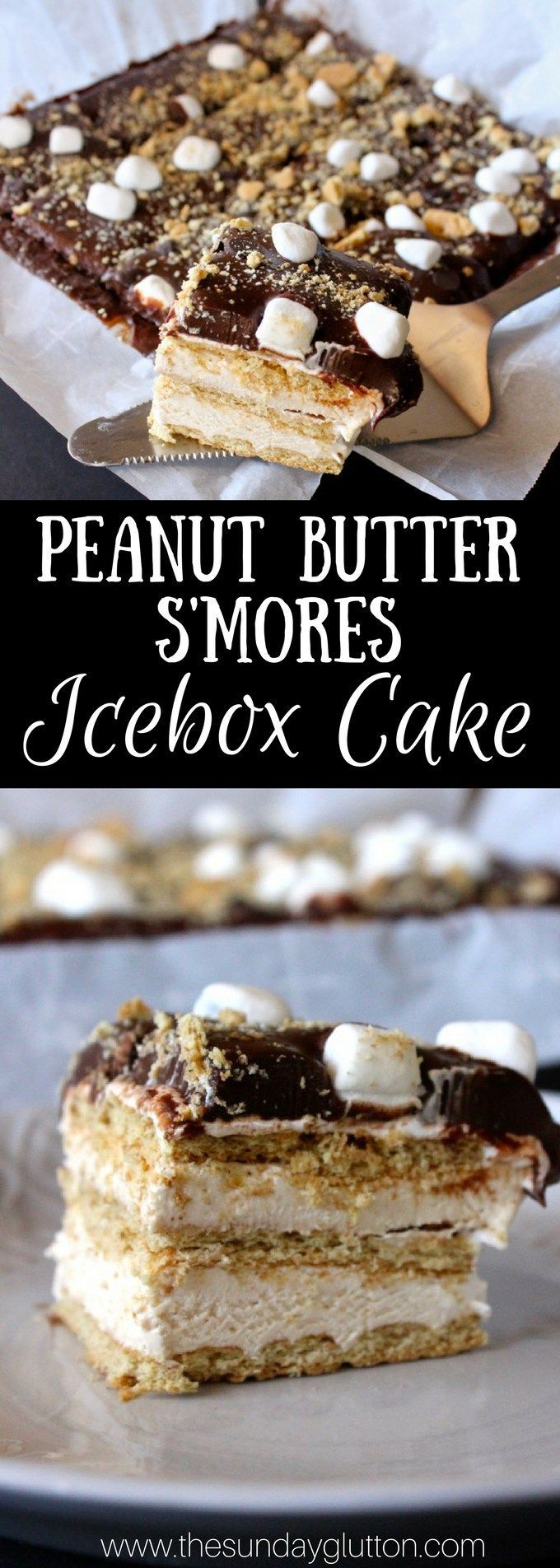 This Peanut Butter S'mores Icebox Cake is a quick and easy, no-bake dessert with creamy peanut butter marshmallow filling, crunchy graham crackers, and chocolate on top. A perfect, frozen summer treat!