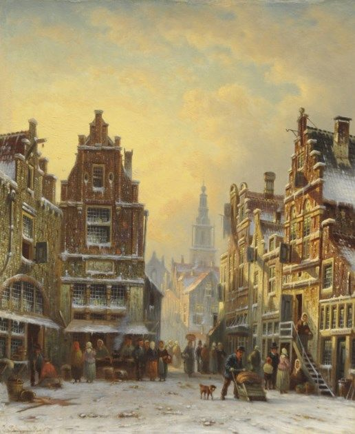 Johannes Franciscus Spohler (Rotterdam 1853-1894 Amsterdam) A snowy town view with the Amsterdam Zuiderkerk tower - Dutch Art Gallery Simonis and Buunk Ede, Netherlands.