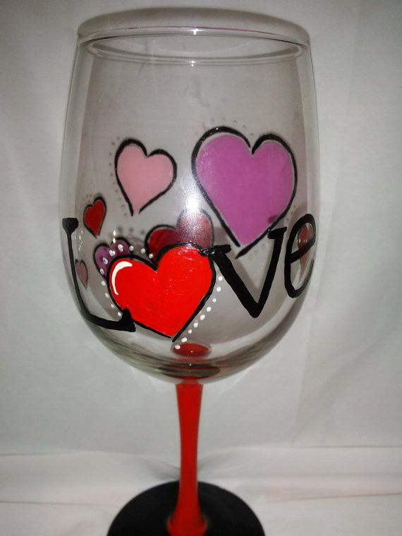 26 Best Painted Wine Glass Valentines Images On