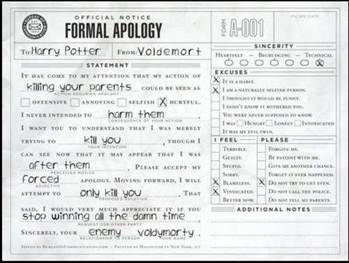 Formal apology.