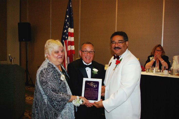 Photo in 2016-08-06 MA Lions Eye Reseach Fund Dist 33N DG Joan Parcewski and Martin Middleton - outgoing president of MLERF - present award to Lowell Lions Club