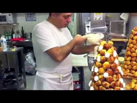 Watch this video the fench dessert mini croquembouche MINI CROQUEMBOUCHE Ingredients Choux paste ¾ cup refined flour ½ cup milk 5 tablespoons (70 grams) butt...