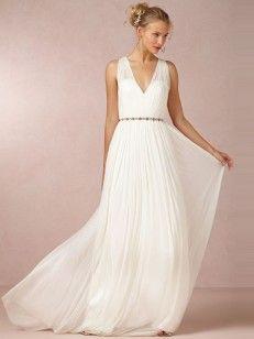 Aライン/プリンセス袖なしのストラップビーズシフォンスウィープ/ブラシ/トレーンウエディングドレス