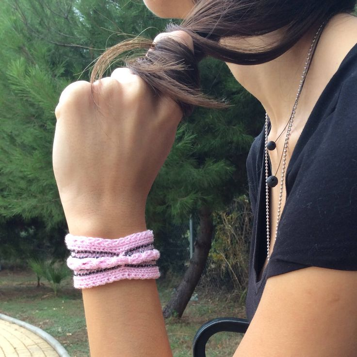 Pink Cuff Jewelry Trendy Cable Knit Accessory Statement Wife Gift Womens Arm Cuff Jewelry Wristband Band Birthday Gift for Her Bead Bracelet