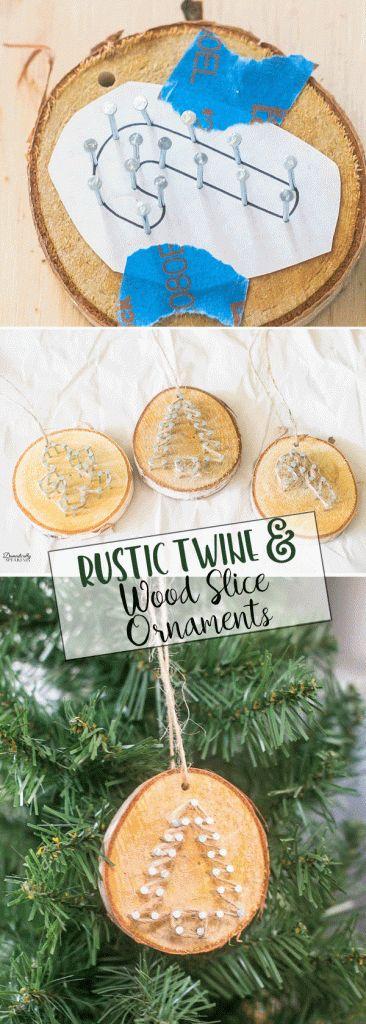 Rustic Twine and Wood Slice Christmas Ornament | DIY Homemade Ornaments | Easy Christmas Craft #christmas