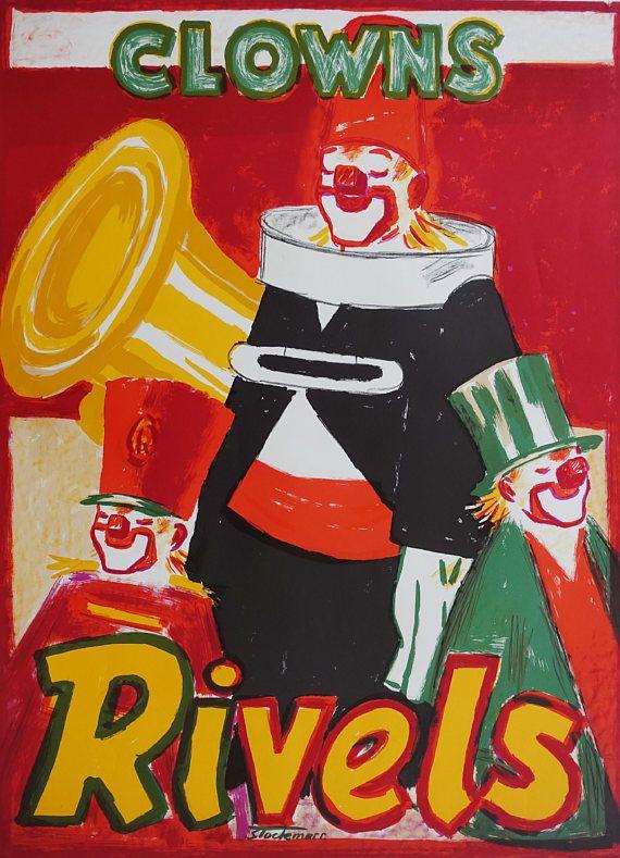 1950s Clowns Rivels by Erik Stockmarr  Original Vintage