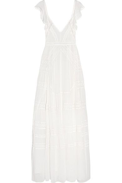 EXCLUSIVE AT NET-A-PORTER.COM. Needle & Thread's floor-length ivory gown is cut from fluid silk-crepe that drapes beautifully. The intricate lace panels are positioned to flatter your bust, waist and hips, and this fully lined piece is slit through the skirt for added movement. It also has ties at the back to ensure the perfect fit.