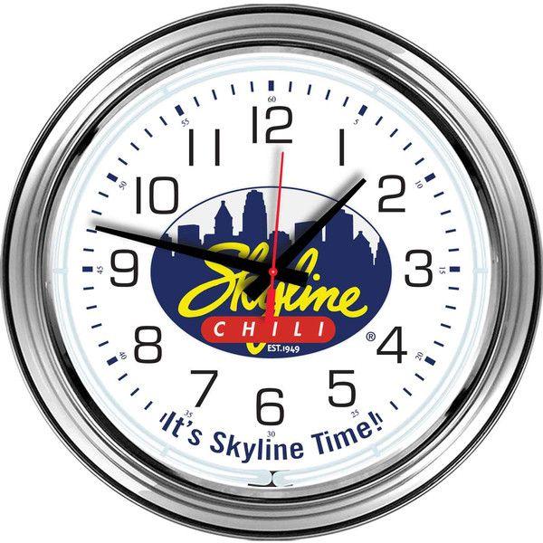 16 Quot Chrome Skyline Chili Neon Clock The Den Chili And
