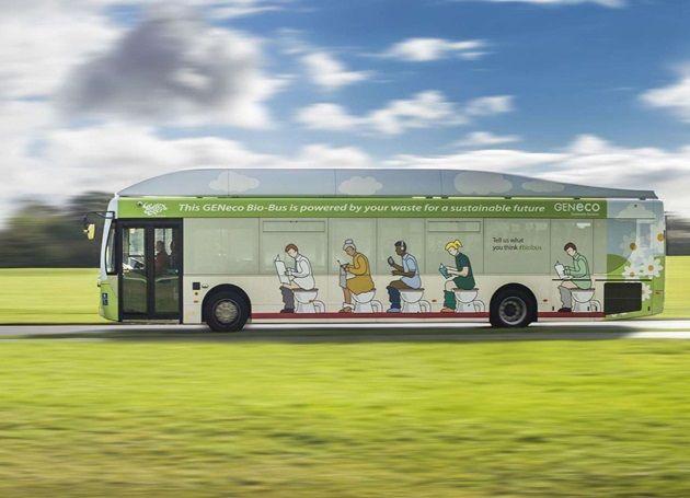 Una empresa con sede en el Reino Unido creó este Bio-Bus de 40 asientos que genera suficiente energía como para viajar 300 km con un tanque de desechos y excremento.