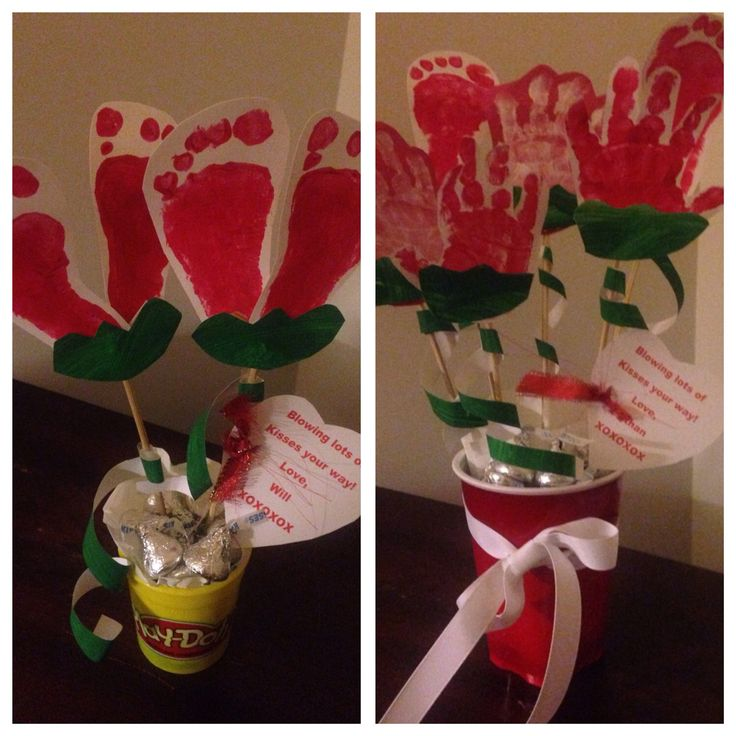 Valentine's Day Hand and Footprint Bouquets with HERSHEY kisses