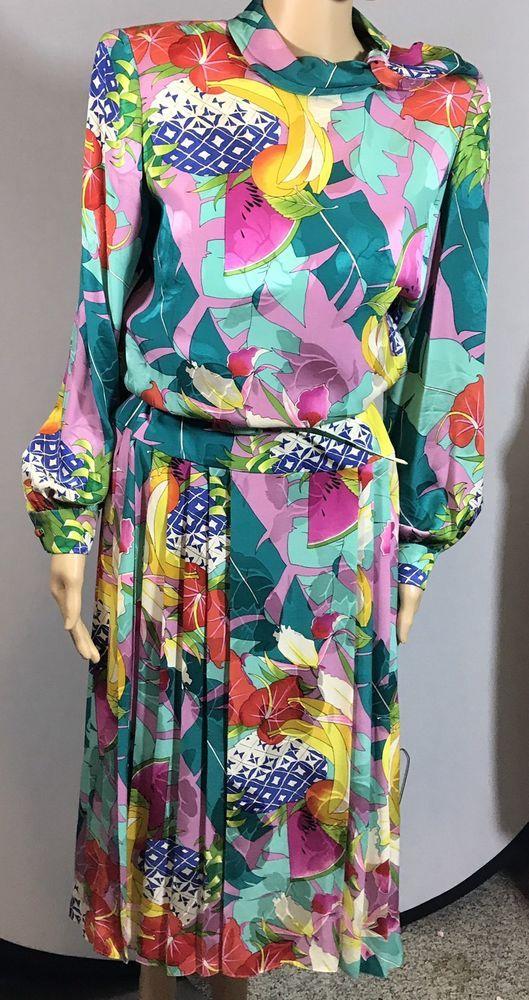 VINTAGE RAUL BLANCO 100% SILK LONG SLEEVE Fruit Tropical Print  COCKTAIL DRESS #RaulBlanco