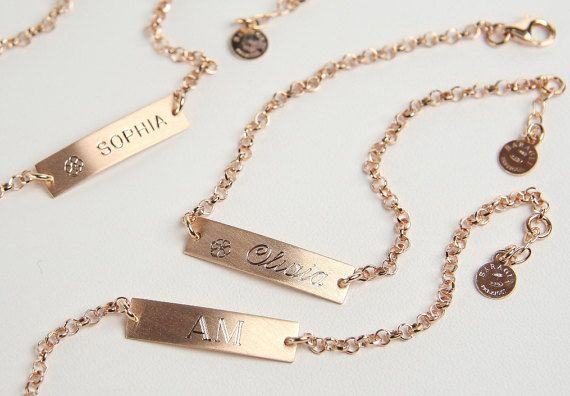 Nameplate Bracelet Personalized 25 x 6 mm Bar Gift for