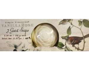 Simple Pleasures Vanilla Rose Guest Soaps - 3pack by Simple. $8.99. Great for a gift or to enjoy yourself. Beautifully packaged with an elegant rose design and delicious vanilla scent. Simple Pleasures Vanilla Rose Guest Soaps - 3pack. Simple Pleasures Vanilla Rose Guest Soaps - 3pack,Beautifully packaged with an elegant rose design and delicious vanilla scent