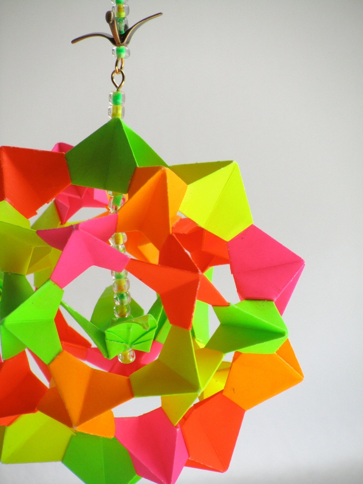 Mother S Day Gift Ornament Home D Cor Modular Origami Handmade In Neon Fluorescent Colors On A Gold Tone Metal Ornament Stand Ooak