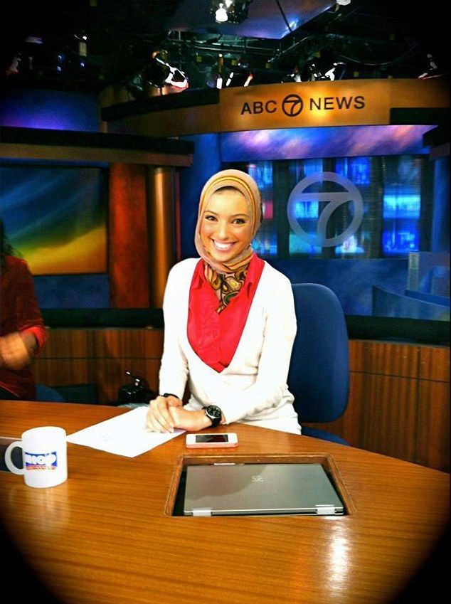 Tagouri first gathered attention online after sharing this picture of herself at an ABC 7 desk, captioning it:'The first hijab wearing news anchor on American television'