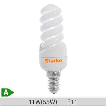 Bec economic spirala STARKE Alfa 11W, E14, 8000 ore, lumina calda
