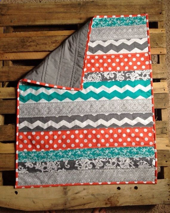 Coral Grey And Teal Chevron Baby Quilt