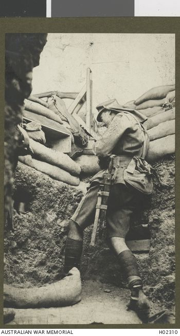 scrapironflotilla:  Gallipoli, Turkey. An Australian soldier using a periscope rifle. The  periscope rifle had been invented by Lance Corporal (later Sergeant)  W.C.B. Beech of the 2nd Battalion.