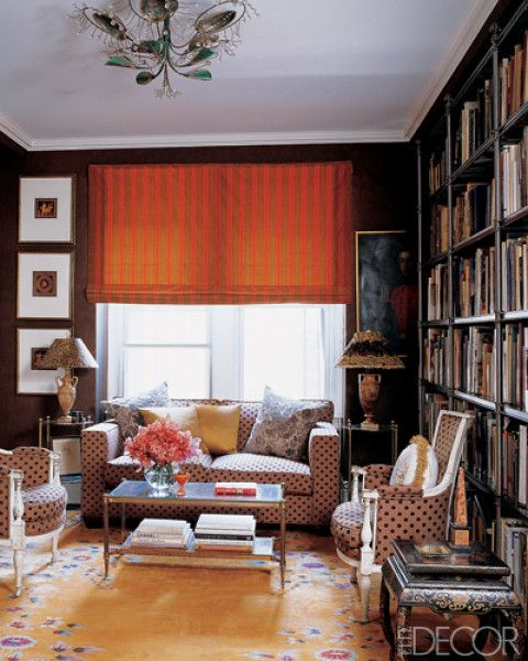 Amy Fine Collins library. Love!: Wall Colors, Cozy Libraries, Libraries Spaces, Bays, Colors Fun, Books Books, Contemporary Living Rooms, Collins Libraries, Dark Wall