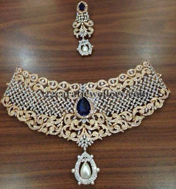 Diamond Necklace with Blue Earrings | Jewellery Designs