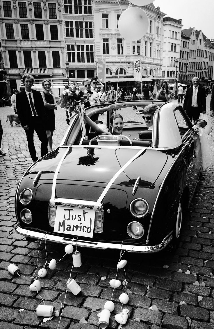 After my legal wedding as we drive away in the nissan figaro. It was so nice how they prepared the car for us.