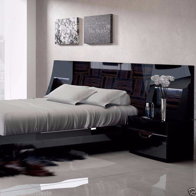 black modern floating bed beautiful gloss underglow lighting wood bedroom set - Wood Bedroom Sets
