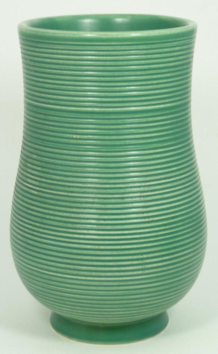 Gio Ponti for Richard Ginori , green ribbed pottery vase. circa 1920's-30's