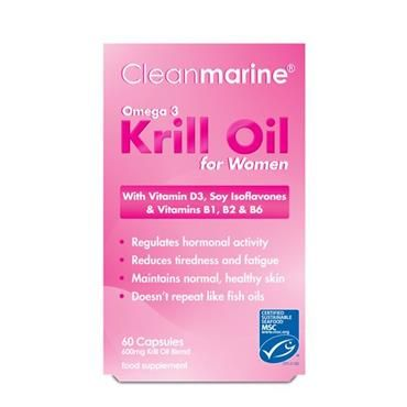 Cleanmarine Krill Oil for Women with added B Vitamins, MCT's and Soy Isoflavones. Ideal for women of all ages. Isoflavones are a class of phytoestrogens, plant-derived compounds with estrogenic activity. Soybeans and soy products are the richest sources of isoflavones in the human diet. Soy may support better menstrual health by favourably altering oestrogen levels and oestrogen metabolism.
