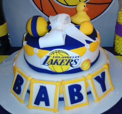 lakers themed baby shower cake by sophiarose1 on cakecentralcom