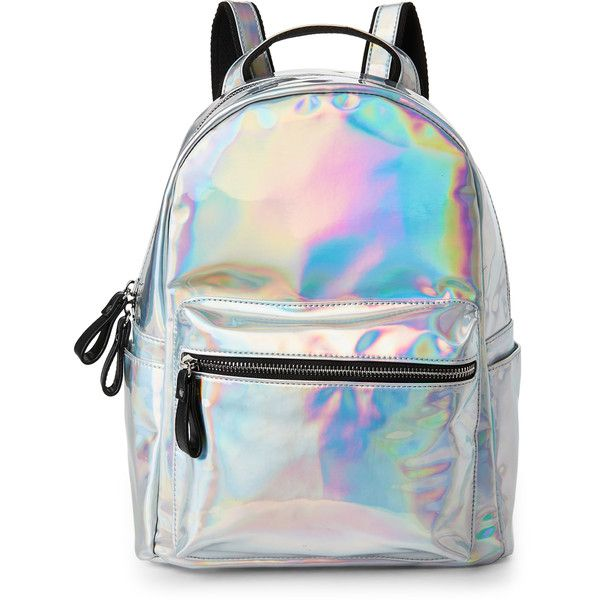 Imoshion Hologram Small Backpack ($27) ❤ liked on Polyvore featuring bags, backpacks, metallic, imoshion bags, knapsack bag, metallic backpack, backpack bags and zip bag
