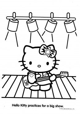 rock and roll hello kitty colouring page