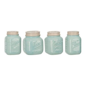 Blue and Ivory Kitchen Canisters, Set of 4 | Kirklands