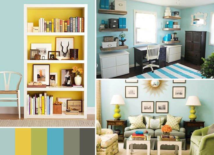 Blue Green Yellow Gray Painting Color Schemes