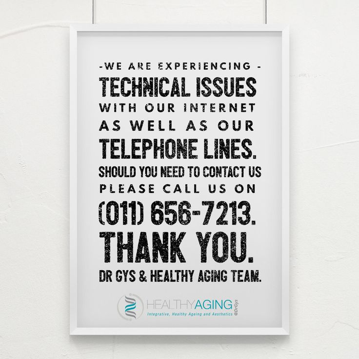 We are experiencing technical issues with our internet as well as our telephone lines. Should you need to contact us, please call us on 011 656 7213. Thank you. Dr Gys & Healthy Aging team.