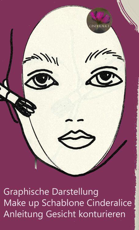 Mit Make up Tiefe und Ausdruck kreieren: konturieren und highlighten mit Make up Schablone Cinderalice.Mit Innen hell und außen dunkel Schattierung die ideale ovale Form richtig konturieren,Make up Kurs,Gesichtsform.