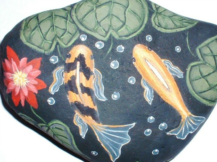 70 best images about painted slate on pinterest american for Fish pond rocks