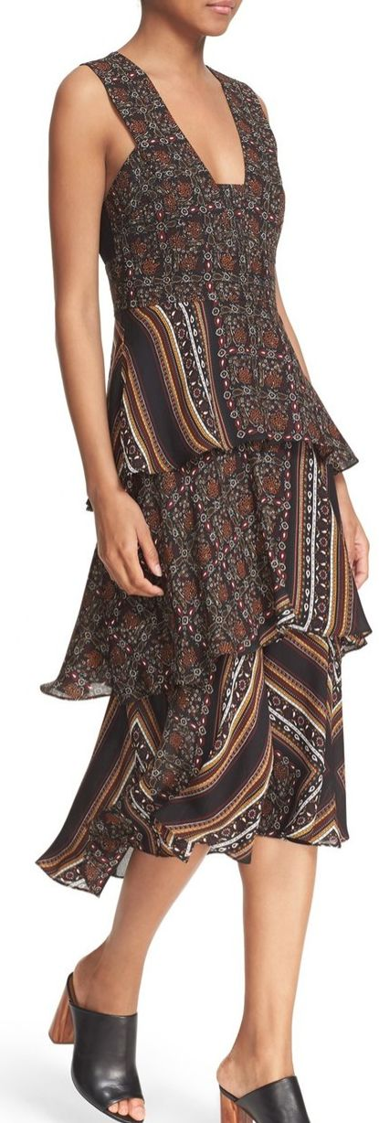 'Hayley' Tiered Print Silk Dress