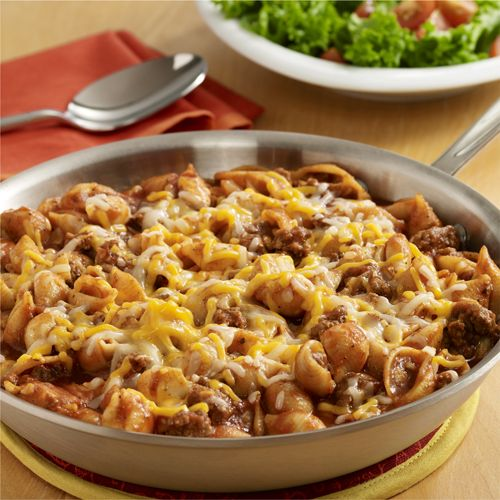 A family-friendly pasta skillet recipe with ground beef, seasoned tomato sauce, ketchup and cheese for the cheeseburger flavor profile