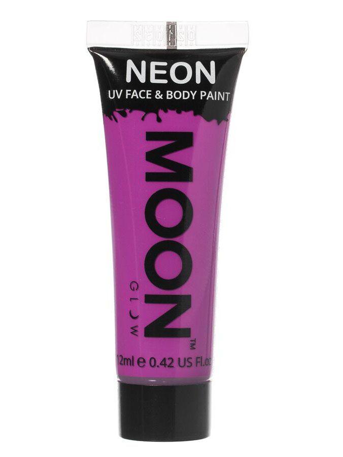Gel cara y cuerpo violeta UV Moonglow™ 12 ml: Este tubo degelpara cara y cuerpo es de la marcaMoonglow™.Mide 7,5 cm de largo y contiene 12 ml de crema violeta que brilla en la oscuridad ultravioleta.Puedes utilizarlo...