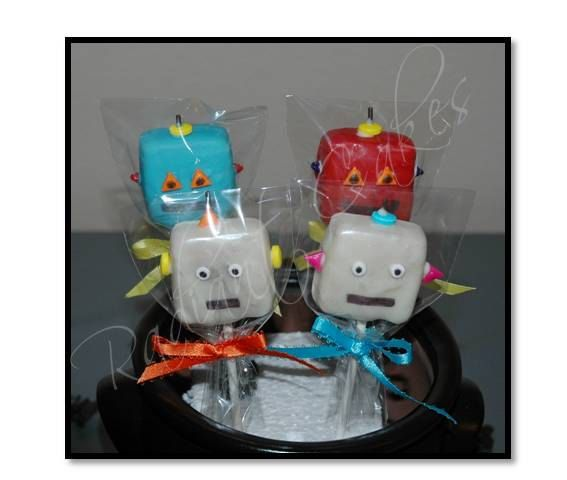 Robot Cake Pops by RadiantCakes on Etsy, $30.00
